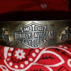 Mens HARLEY DAVIDSON Sterling Silver Cuff Bracelet